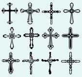 Colección cruzada religiosa del diseño Fotografía de archivo