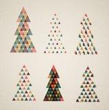 Colección de árboles de navidad retros del vector de la vendimia Fotografía de archivo libre de regalías