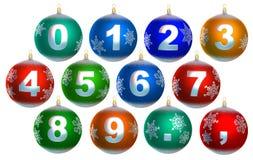 Colección de 12 chucherías brillantes de la Navidad Foto de archivo libre de regalías