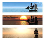 Colección de 3 banderas con las naves en el mar. Imágenes de archivo libres de regalías