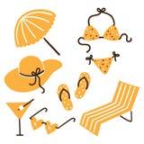 Colección de accesorios del verano de la playa Fotos de archivo