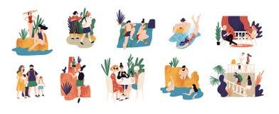 Colección de actividades o de escenas - gente de las vacaciones que camina, nadando, tomando el sol, salto, haciendo turismo dura ilustración del vector
