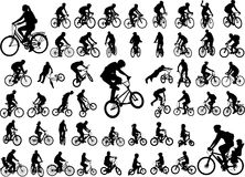 colección de alta calidad de 50 siluetas de los ciclistas libre illustration