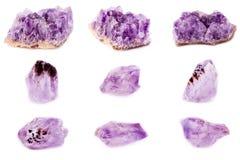 Colección de amatista mineral de piedra Imágenes de archivo libres de regalías