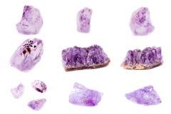 Colección de amatista mineral de piedra Foto de archivo libre de regalías
