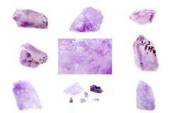 Colección de amatista mineral de piedra Imagen de archivo libre de regalías