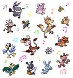 Colección de animales del campo locos del baile Imágenes de archivo libres de regalías