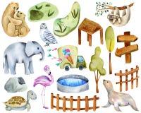 Colección de animales, de elementos y de cualidades de la acuarela del parque zoológico