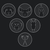 Colección de animales salvajes y domésticos en diseño linear ilustración del vector