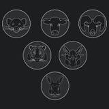 Colección de animales salvajes y domésticos en diseño linear Imagen de archivo