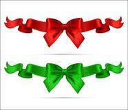 Colección de arcos realistas de seda con las cintas Bueno para Greetin Foto de archivo libre de regalías