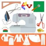 Colección de artículos de costura con la ropa Sihiouette Foto de archivo libre de regalías