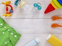 Colección de artículos para los bebés con el espacio de la copia Fotografía de archivo libre de regalías
