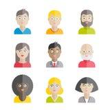 Colección de avatares planos de la gente del vector Imagenes de archivo