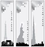 Colección de banderas verticales del vector de ciudades Imagen de archivo libre de regalías