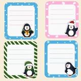 Colección de bastidores de la Navidad Marcos lindos con los pingüinos Fotografía de archivo libre de regalías