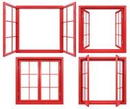 Colección de bastidores de ventana rojos aislados en blanco Fotos de archivo