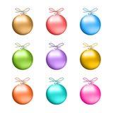 Colección de bolas multicoloras de la Navidad stock de ilustración