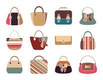 Colección de bolsos retros de la mujer Fotografía de archivo