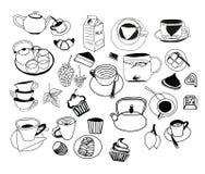Colección de bosquejos dibujados mano en el tema del té Foto de archivo