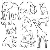 Colección de bosquejos de los animales salvajes libre illustration