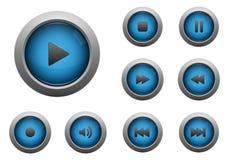 Colección de botones azules de los multimedia Fotos de archivo libres de regalías