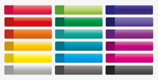 Colección de botones coloridos para el web Fotos de archivo