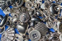 Colección de botones de costura metálicos Fotografía de archivo libre de regalías