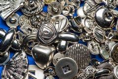 Colección de botones de costura metálicos Imagen de archivo libre de regalías