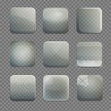 Colección de botones de cristal transparentes del app del cuadrado Imagenes de archivo