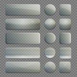 Colección de botones transparentes del app del vidrio ilustración del vector