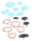 Colección de burbujas dibujadas mano del discurso Fotografía de archivo