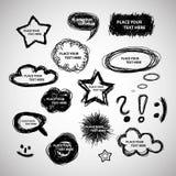 Colección de burbujas dibujadas mano del discurso y del pensamiento Foto de archivo libre de regalías