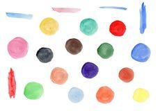 Colección de círculos coloridos de la acuarela brillante libre illustration