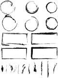 Colección de círculos y de fronteras sucios imagen de archivo libre de regalías