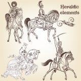 Colección de caballos y de caballeros heráldicos de los elementos del vector Imagen de archivo libre de regalías
