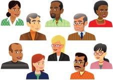 Colección de cabezas de una más vieja gente Stock de ilustración