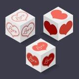 Colección de cajas isométricas con los corazones para Valentine Day Fotografía de archivo libre de regalías