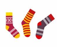 Colección de calcetines multicolores Imágenes de archivo libres de regalías