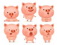 Colección de caracteres divertidos del cerdo en diversas emociones ilustración del vector