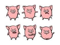 Colección de caracteres divertidos del emoticon del cerdo en diversas emociones Ejemplo exhausto de la mano del sistema del vecto libre illustration