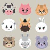Colección de caras animales lindas, icono grande del vector fijado para el diseño del bebé libre illustration