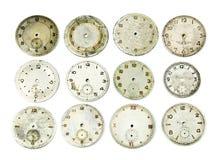 Colección de caras antiguas del reloj Foto de archivo libre de regalías