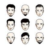Colección de caras caucásicas de los hombres que expresan diversas emociones ilustración del vector