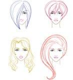 Colección de caras de las mujeres stock de ilustración