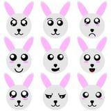 Colección de caras del conejo de la historieta aisladas en el fondo blanco Diversas emociones, expresiones illustation del vector ilustración del vector