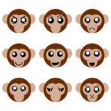 Colección de caras del mono de la historieta aisladas en el fondo blanco Diversas emociones, expresiones illustation del vector ilustración del vector