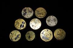 Colección de caras y de pedazos del reloj de bolsillo imagenes de archivo