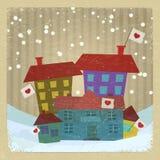 Colección de casas con las banderas Imagen de archivo libre de regalías
