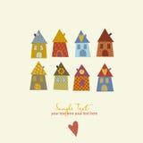 Colección de casas lindas en un infantil caprichoso Fotografía de archivo libre de regalías